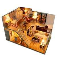 DIY 조립 목조 주택 인형의 집 키트, 나무 미니어처 인형의 집, 가구 포함, LED 조명 선물