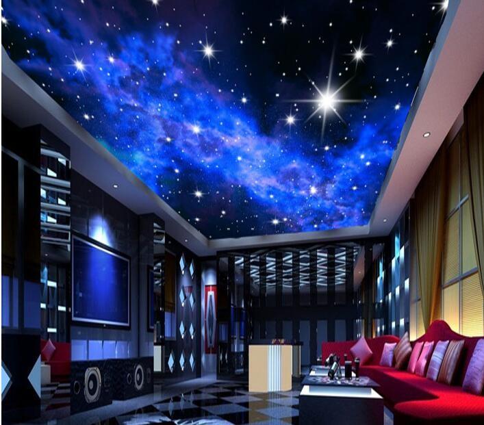 Niestandardowe zdjęcia tapety KTV 3D 5-gwiazdkowych Hoteli sen salon sypialnia sufit jasny sufit gwiazdy papier fototapetę malarstwo ścienne 5