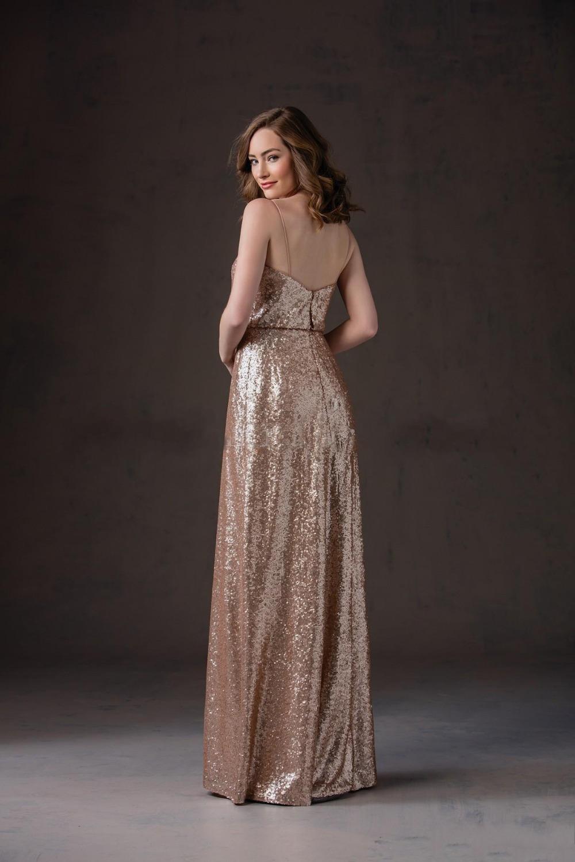 Spaghetti Straps Floor Length Maid of Honor Coffee Sequins Bridesmaid Dress 2