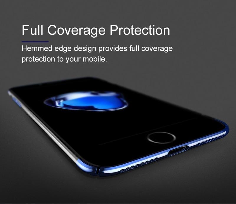 Baseus pc hard case dla iphone 7 pokrywa dla iphone 7 plus case anti-scratch galwanizacja telefon torba ochronna shell coque 5
