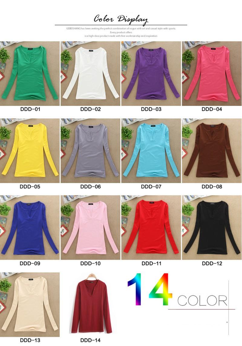 2017 stałe 14 kolory Dekolt Bluzki Sexy Szczupła Dzianiny Długi rękaw chemise femme koreański bluzki dla kobiet koszula clothing góry bluzka 4