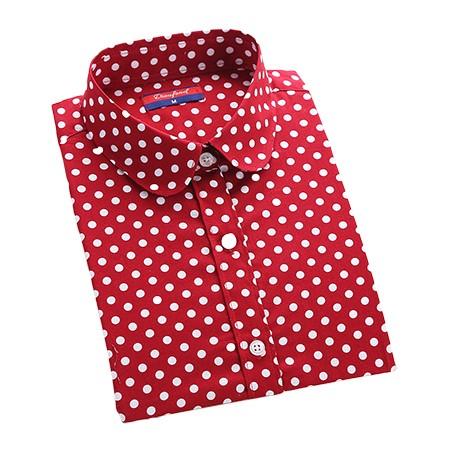2016 Plus Size Polka Dot Bawełna Kobiety Bluzki Koszule Długie rękaw Kobiety Koszule Turn Down Collar Bawełna Dorywczo Koszula Kobiet topy 8