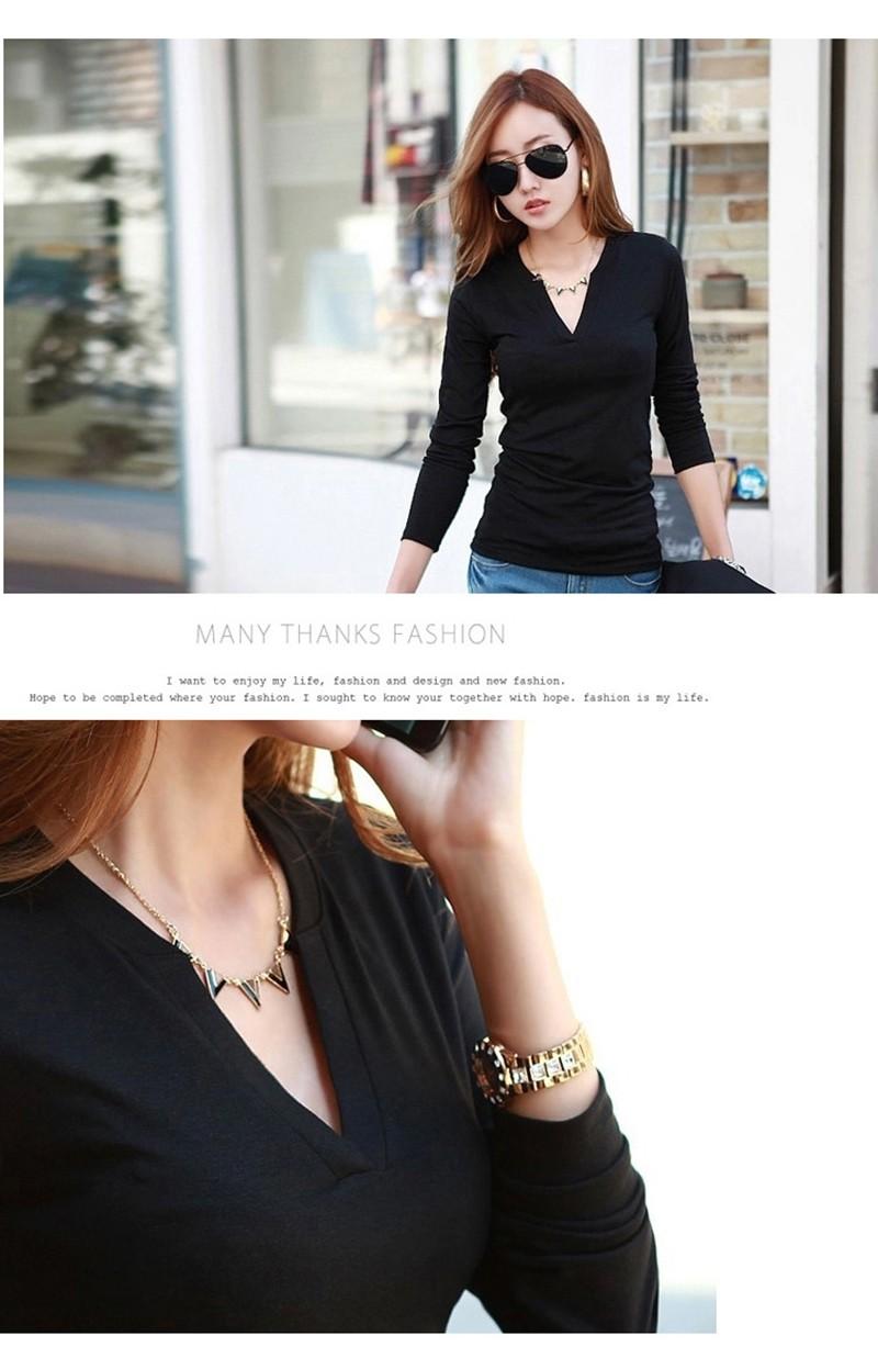 2017 stałe 14 kolory Dekolt Bluzki Sexy Szczupła Dzianiny Długi rękaw chemise femme koreański bluzki dla kobiet koszula clothing góry bluzka 8