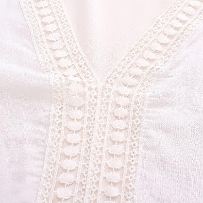 2017 bohemian style kobiety lato white dress sexy dorywczo v szyi 3/4 flare rękaw koronki szydełko loose mini sukienki plażowe vestidos 11