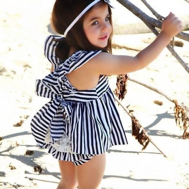 0-24 M Newborn Baby Dziewczyny Odzież Dla Niemowląt Dzieci Letnie Sukienki W Paski Top + Figi 2 sztuk Outfit Malucha dzieci Odzież Ustaw 3