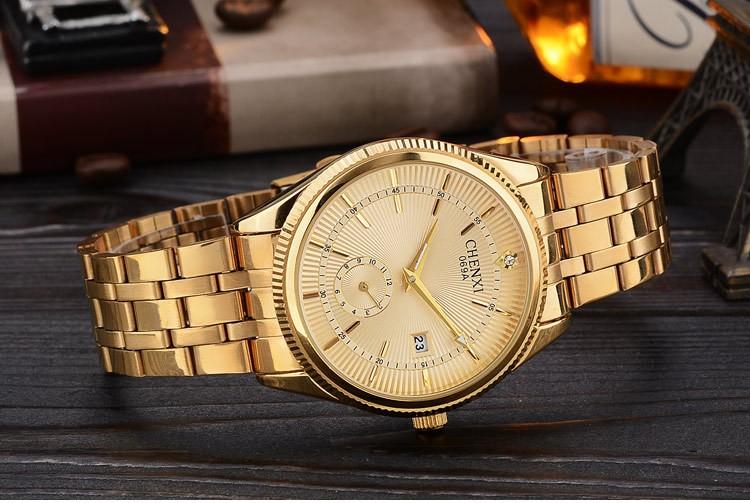 Chenxi złoty zegarek męskie zegarki top marka luksusowe znani zegarek męskie złoty zegarek kwarcowy kalendarz zegar relogio masculino 7