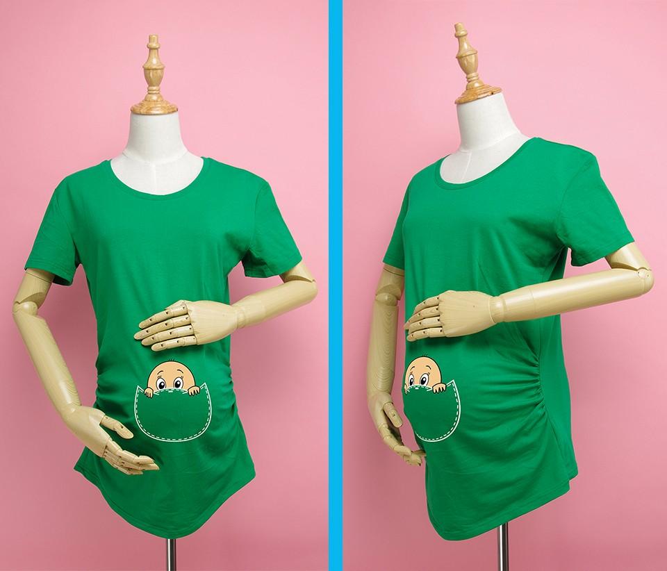 """""""Kieszonkowy dziecko siusiu boo"""" drukuj koszula ciążowa gravida top ciąży odzież tanie Tees Casual plus rozmiar XXL Darmowa wysyłka 3"""