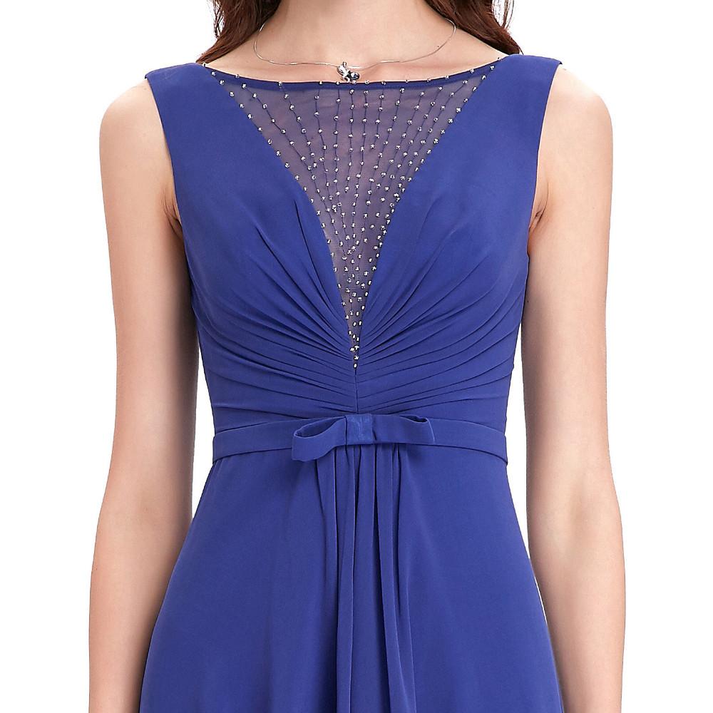 High Low Royal Blue Chiffon Short Front Long Back Bridesmaid Dress 6