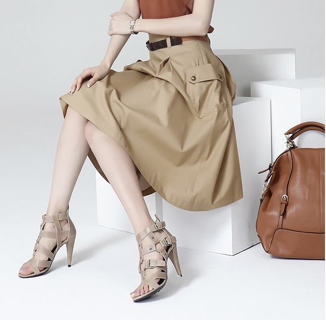 A-line Pockets Khaki and Black Button Midi Skirt 4
