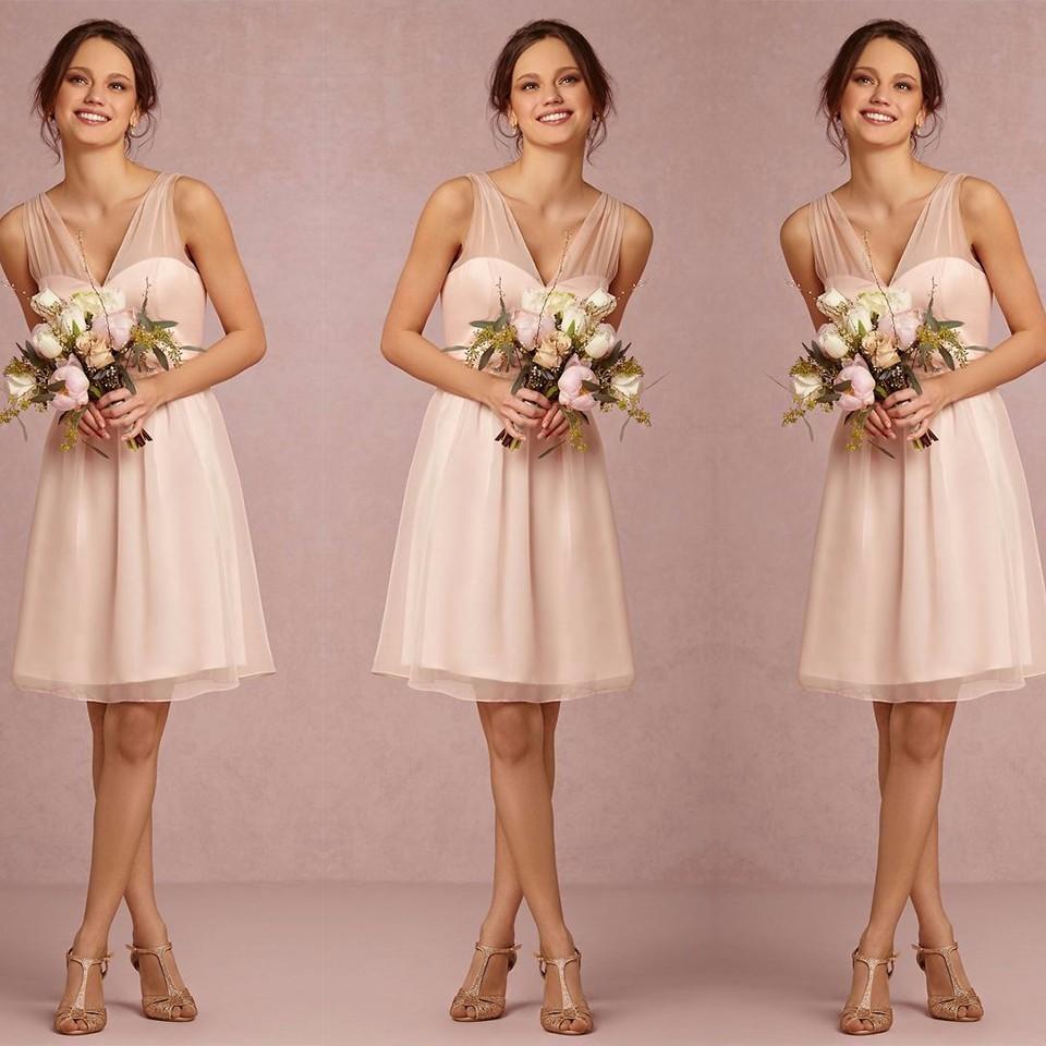 Elegant Short Light Pink Peach V Neck Tulle Bridesmaid Dress 2