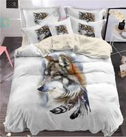 Fanaijia 3d 인도 깃털 늑대 침구 세트 킹 사이즈 보헤미아 늑대 인쇄 Duvet 커버 pillowcase 3pcs Bedbedline 세트