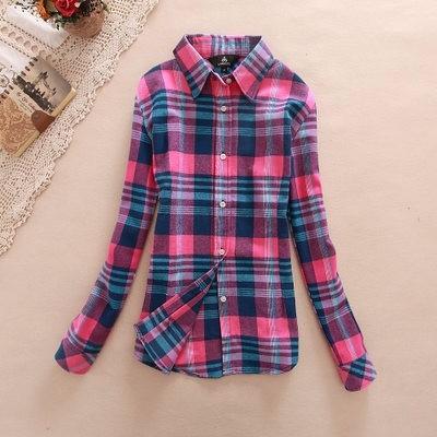 2017 hot sprzedaż jesień zima panie kobieta casual cotton lapel bluzka bluzki z długim rękawem kratę koszula kobiet szczupła odzieży wierzchniej clothing 26