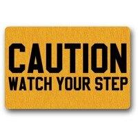 Caution Watch Your Step Funny Doormat Indoor/Outdoor Non-woven Rubber Non Slip Backing Entry Way Doormat For Patio, Front Door
