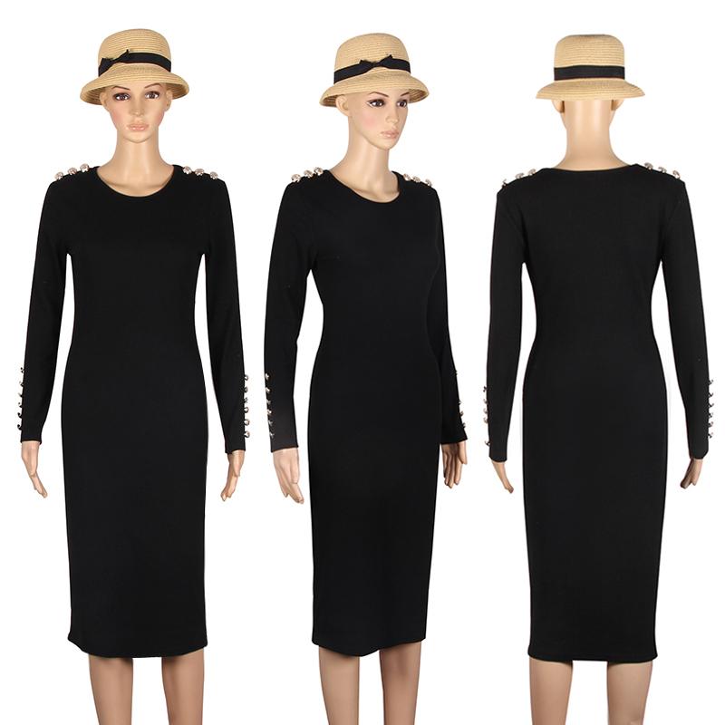 2017 fashion party dress kobiety sexy płaszcza bodycon midi dress stałe z długim rękawem z dzianiny pakiet hip dress vestidos s-xl lj7338e 8