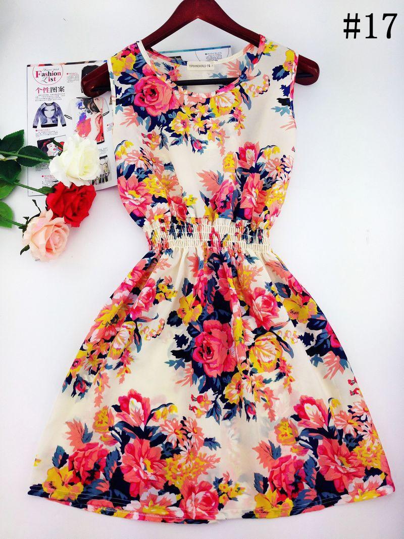 2017 lato jesień nowe koreańskie kobiety dorywczo czeski kamizelka bez rękawów lamparta kwiatów drukowane plaża chiffon dress vestidos wc0344 21