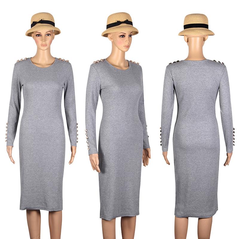 2017 fashion party dress kobiety sexy płaszcza bodycon midi dress stałe z długim rękawem z dzianiny pakiet hip dress vestidos s-xl lj7338e 11