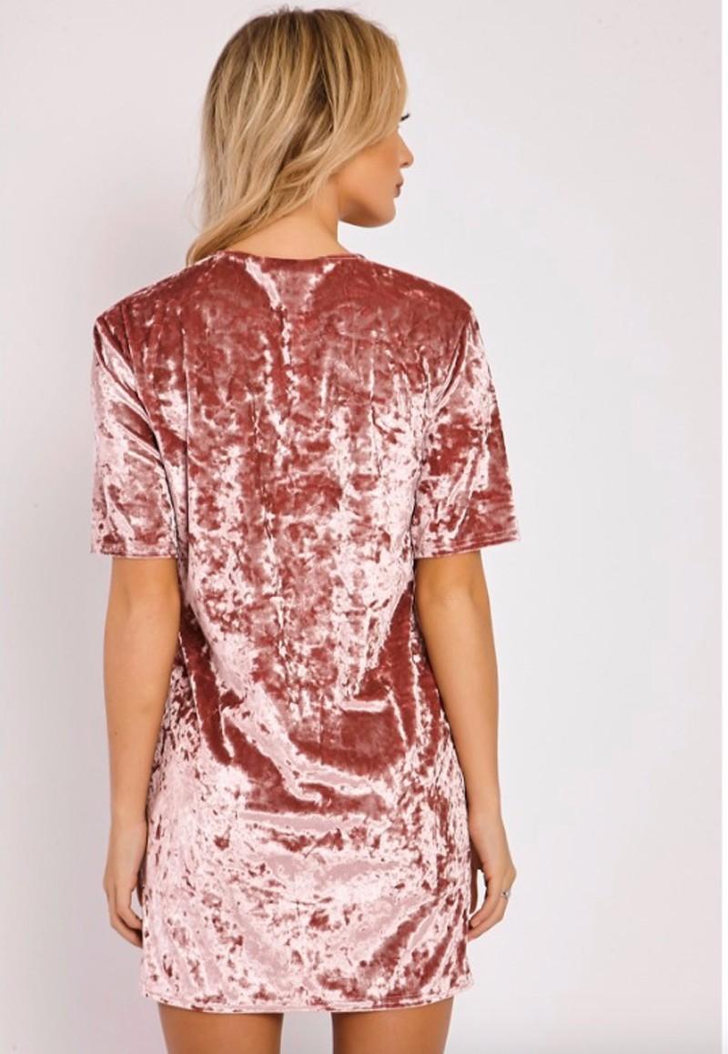 Short Sleeve Velvet Short Casual Dress 3