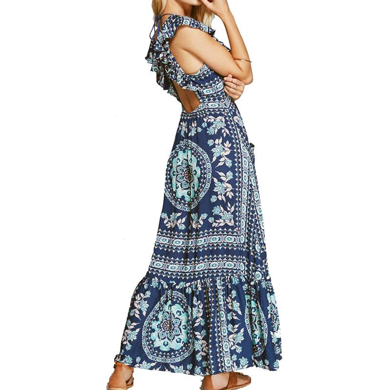 Boho zainspirowany 2017 letnie sukienki kwiatowy print cotton backless długi maxi dress hippie chic ruffles rękawem kobiety sexy vestidos 15