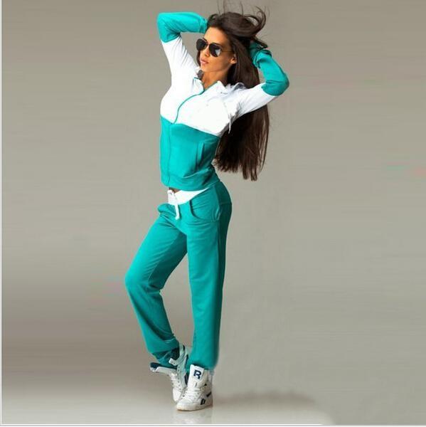 2016 Nowa Wiosna Odzież Przyczynowego 2 Sztuk Kobiety Bluzy z kapturem Bluza Dresy Garnitury Zestaw Bawełna Patchwork Kieszeń Plus Spodnie Dresowe 9