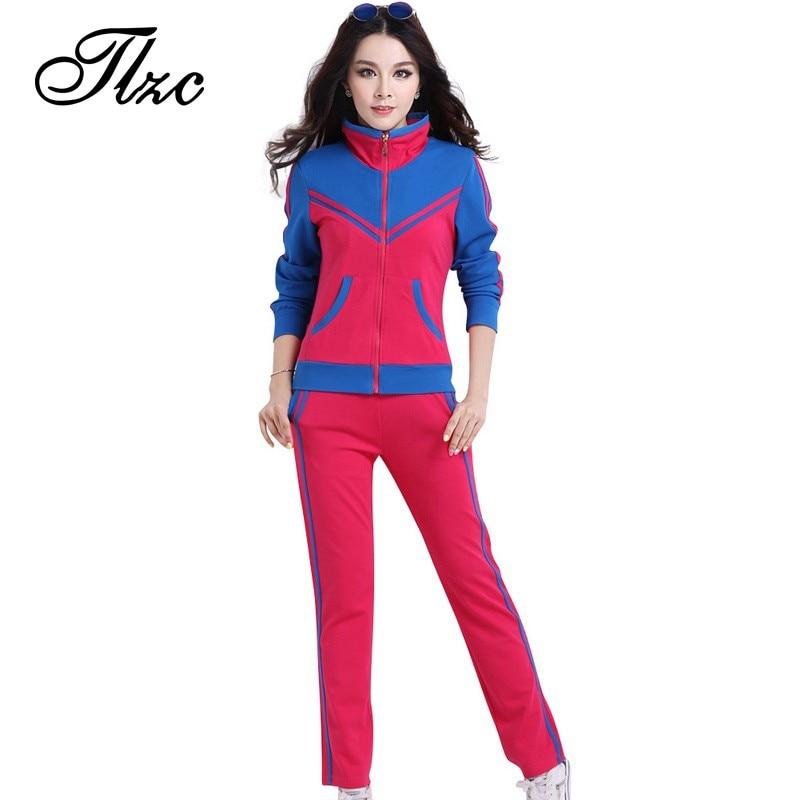 Tlzc stójka lady popular sportswear 2 sztuk zestaw żakiet + spodni plus rozmiar l-5xl patchwork styl kobiety casual dresy 1