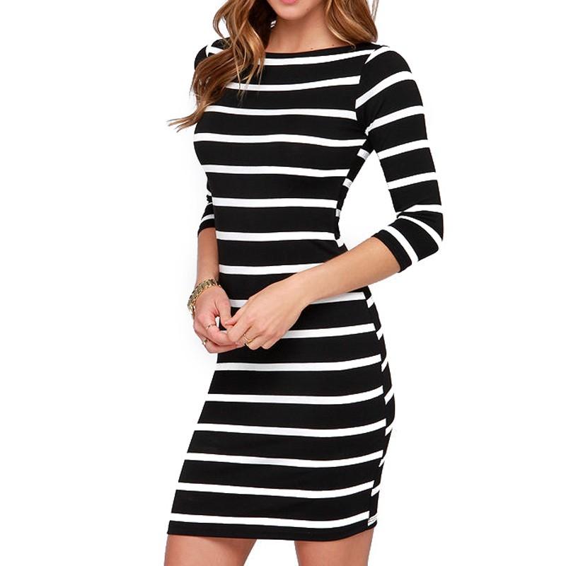 2016 Nowa Wiosna Lato Kobiety Wokół Szyi Mody Czarno-białe Paski Z Długim Rękawem Prosto Plus Rozmiar Casual Dress 6
