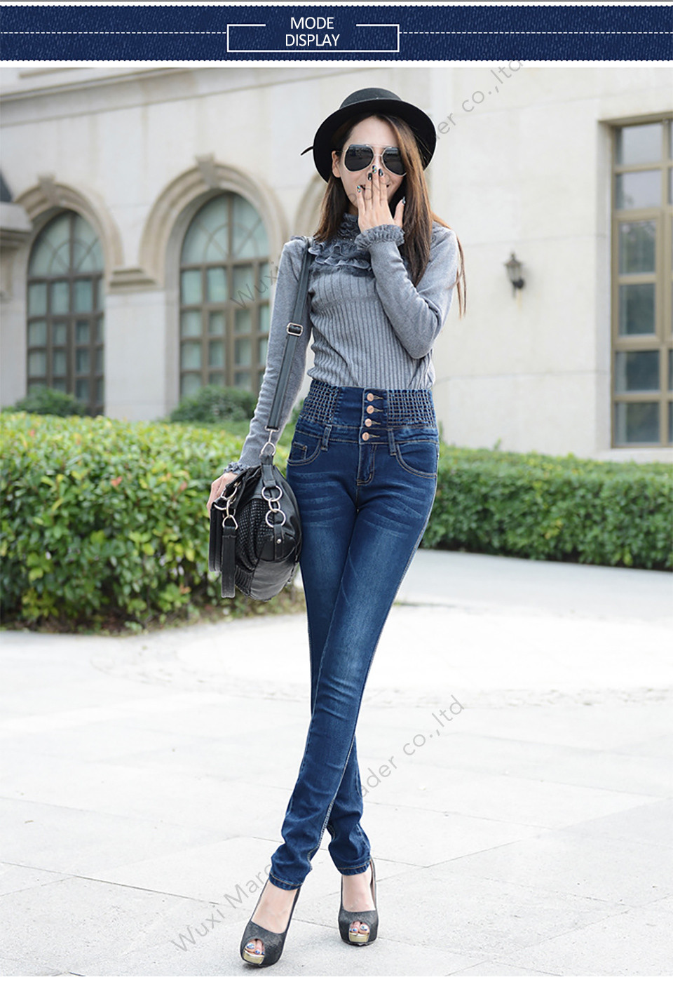 High Waist Elastic Skinny Denim Long Pencil Pants 3