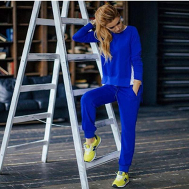 2017 Jesień Zima Kobiet Bawełna Dres 2 Sztuka Zestaw Odzież Stałe Sportwear Garnitur Kobieta 3
