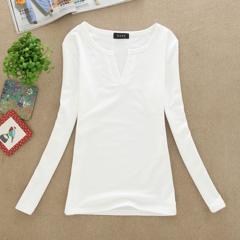 2017 stałe 14 kolory Dekolt Bluzki Sexy Szczupła Dzianiny Długi rękaw chemise femme koreański bluzki dla kobiet koszula clothing góry bluzka 15