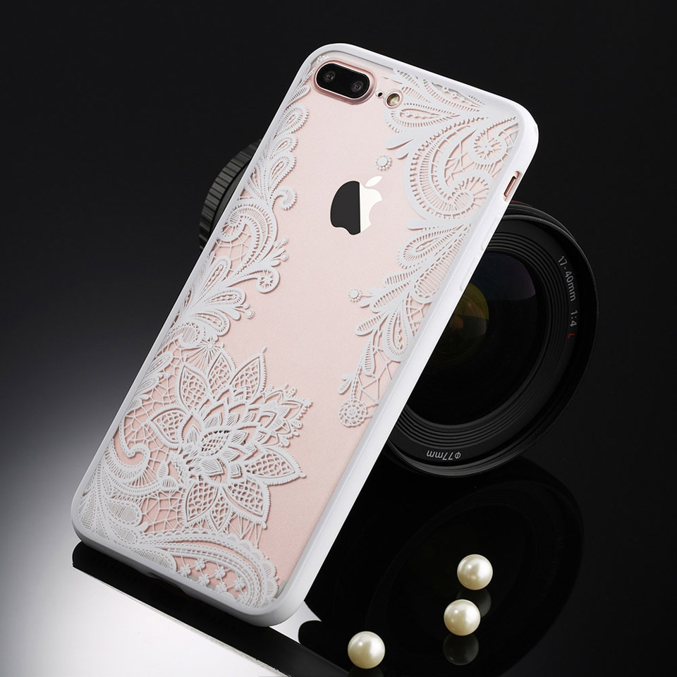 Sexy retro floral phone case dla apple iphone 7 6 6 s 5 5S SE Plus Koronki Kwiat Dysk PC + TPU Przypadki Back Cover Capa Dla iPhone7Plus 18