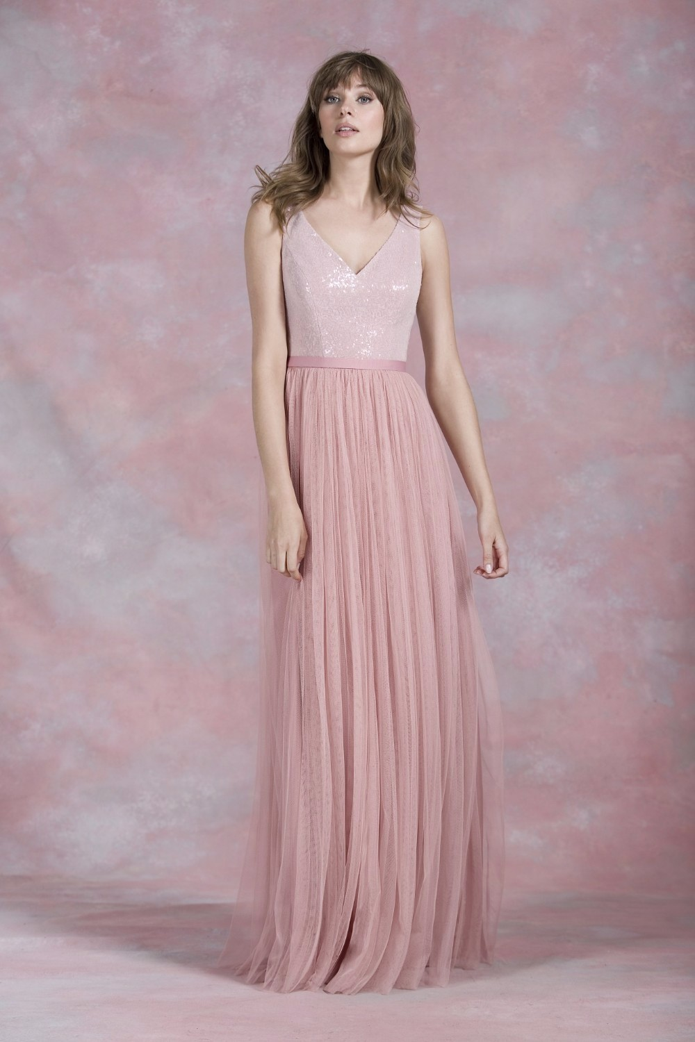Nude Pink Sequined A Line Zipper Back Long Tulle Bridesmaid Dress 1