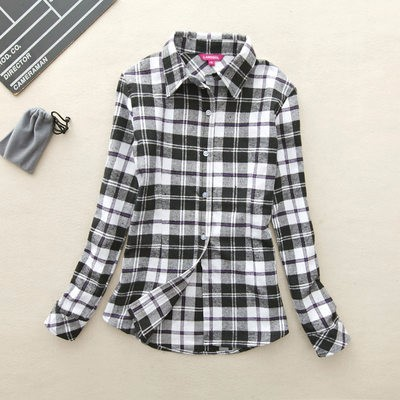 2017 hot sprzedaż jesień zima panie kobieta casual cotton lapel bluzka bluzki z długim rękawem kratę koszula kobiet szczupła odzieży wierzchniej clothing 28