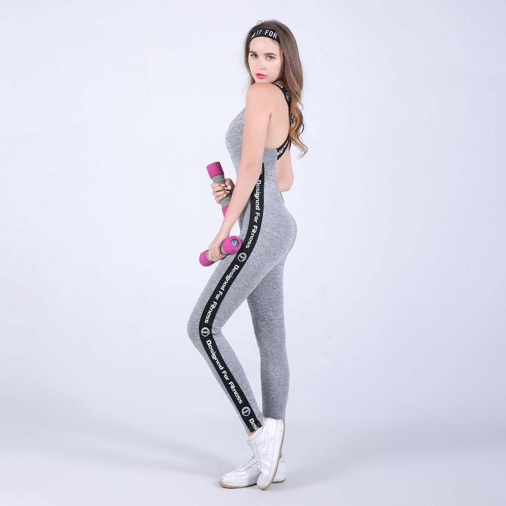 Wysokiej Jakości Centrum Sporting Akrylowe Patchwork Body poprzeczne pasy powrót Playsuit Kombinezon Macacao Kobiet Fioletowy I Szary 25
