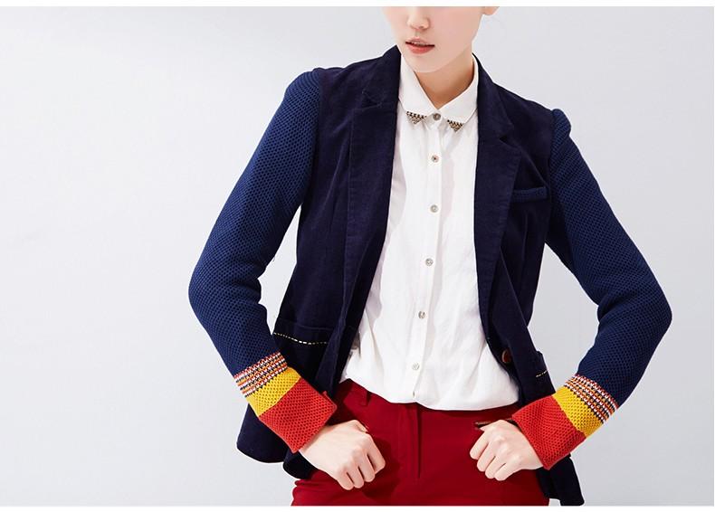 Toyouth kobiet jeden przycisk marynarka krótki projekt bawełny z długim rękawem szczupła marynarka kolor bloku patchwork kobiety blazers 4