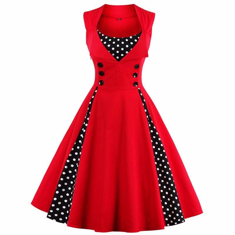 S-4xl kobiety robe pin up dress retro 2017 vintage 50 s 60 s rockabilly dot huśtawka lato kobiet suknie eleganckie tunika vestido 1