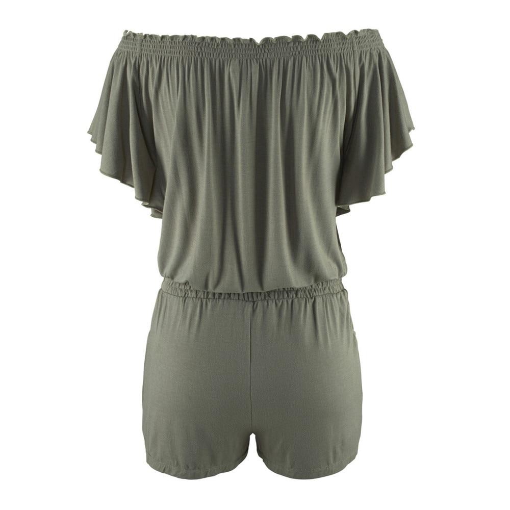Elegancki kombinezony pajacyki Kobiet kombinezon 2017 dorywczo lato stałe Off shoulder sexy plus size Playsuit Bodycon Clubwear B2 9