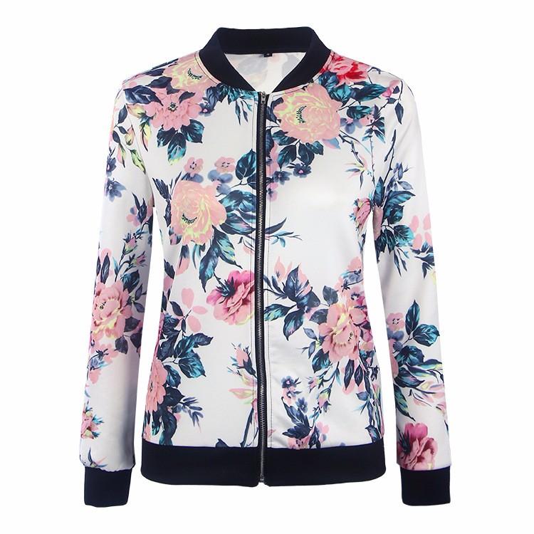 Kwiat Drukuj Kobiety Podstawowe Płaszcze Długim Rękawem Zipper Bomber Jacket Casual Kurtka Płaszcz Jesień Zima Streetwear sukajan 24