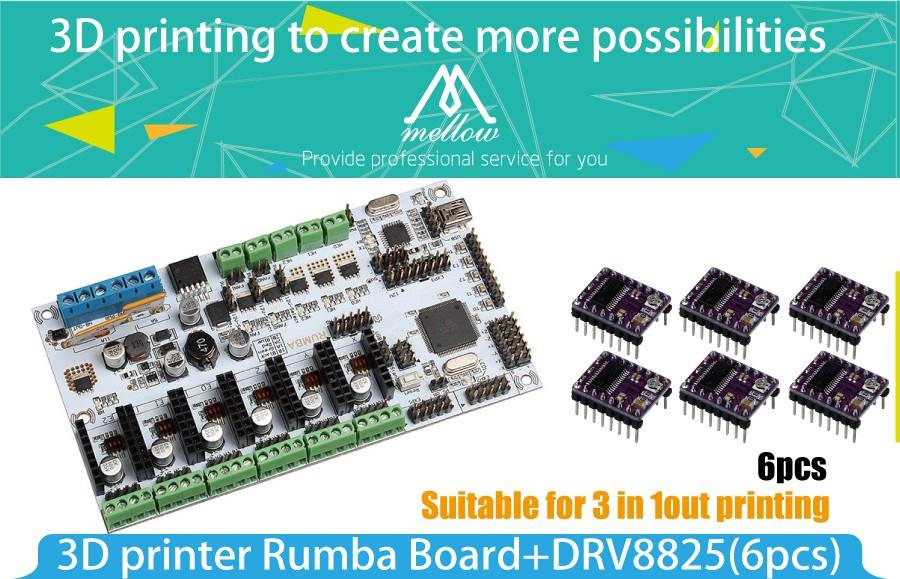 3D Printer Diamond Hotend Brass Multi Color Nozzle Control Kits Mother  Rumba Board With 6pcs DRV8825 Stepper Driver and Heatsink
