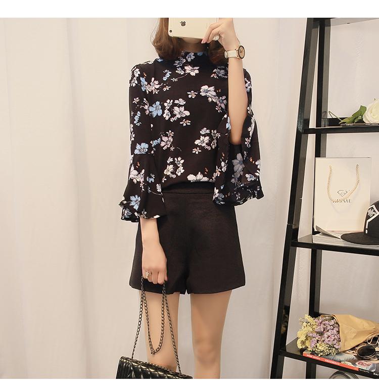 2016 jesień kwiatowy flare rękawem koszula szyfonowa bluzka kobiet topy kobiety biuro panie bluzka koreański fashion blusas chemise femme 8