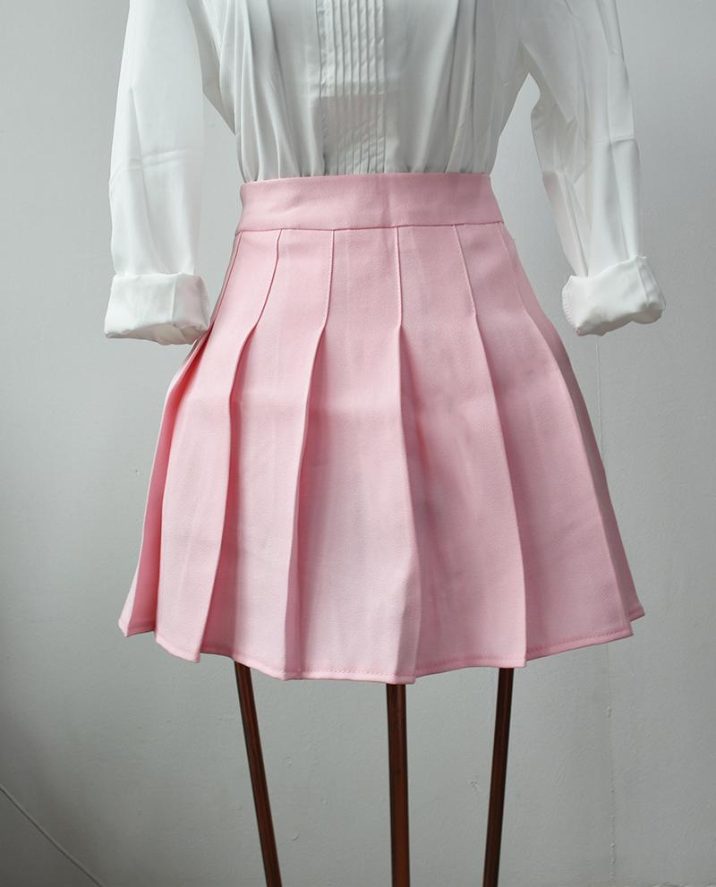 Elegant half pleated high waist mini skirt 9