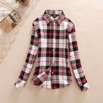 2017 hot sprzedaż jesień zima panie kobieta casual cotton lapel bluzka bluzki z długim rękawem kratę koszula kobiet szczupła odzieży wierzchniej clothing 34
