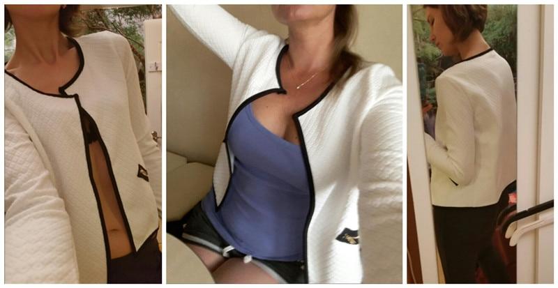 Plus Rozmiar Wiosna Jesień Kratę Kobiet Cienkie Płaszcze Krótkie Kurtki Schudnięcia Blazers Garnitur Cardigans 2017 Kobiet Znosić Czarny Biały 4