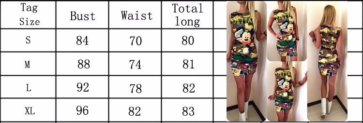2017 kobiety moda lato bez rękawów bodycon wojskowy kamuflaż cartoon mouse list drukuj sexy mini dress vestido curto cortos 2