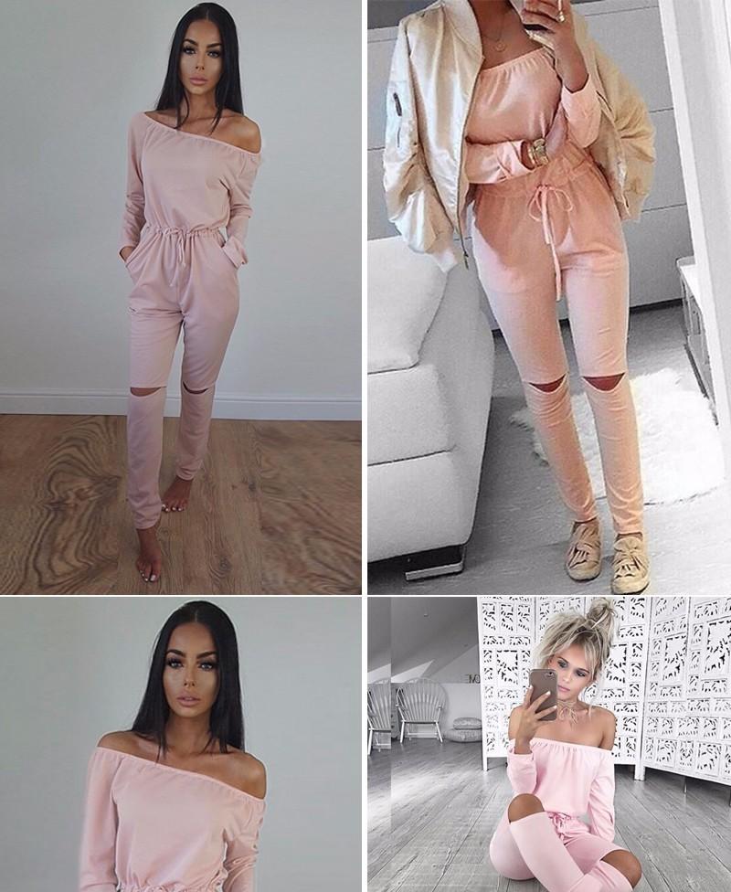 6 Kolor Nowy Pajacyki kobiet Kombinezon 2016 Sexy Off Ramię Z Długim Rękawem Jesień Elegancki Bodycon Body Bandaż Kombinezony 4