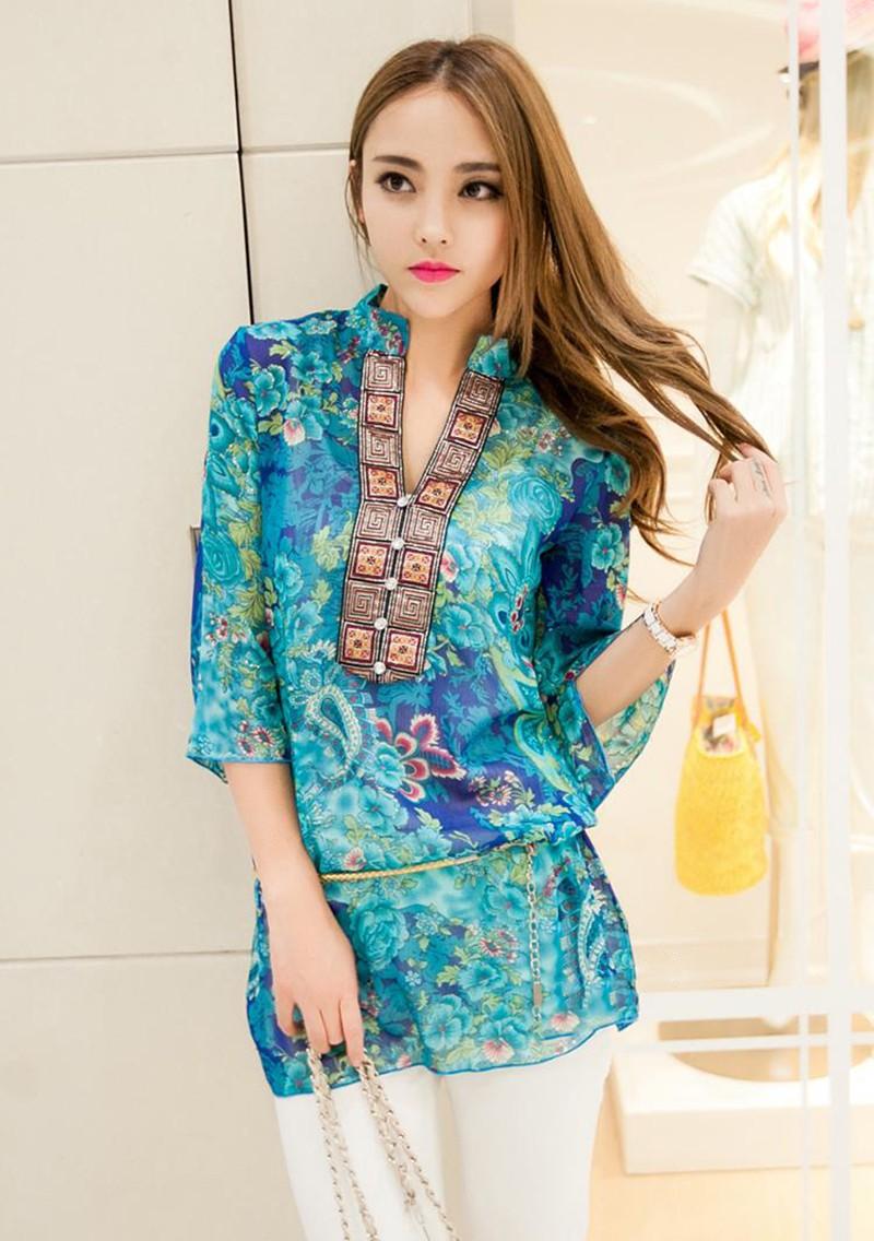 2017 new fashion kobiety bluzka koszula lato w stylu kobiety vestidos szyfonowa Mini Suknia Plus rozmiar 4XL floral Casual Topy Blusas Mujer 8
