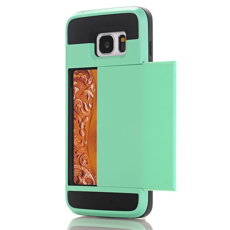 Zbroja slajdów credit card case do samsung galaxy s3 s4 s5 S6 S7 krawędzi Slot Portfel Shock Proof Skóry Twardego Plastiku + TPU Pokrywy Shell 16