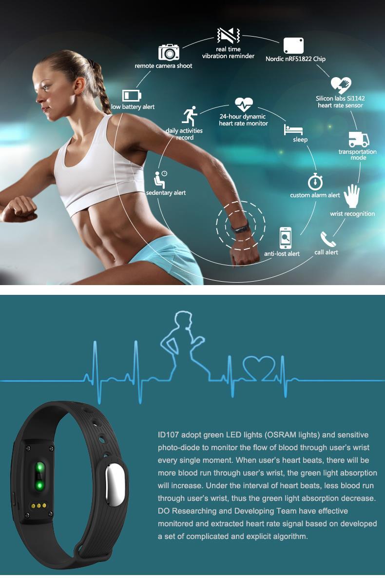 Inteligentny zespół id107 pulsometr siłownia sport bransoletka smartband pulsometer inteligentne nadgarstek dla apple ios android 4