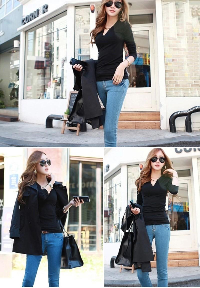 2017 stałe 14 kolory Dekolt Bluzki Sexy Szczupła Dzianiny Długi rękaw chemise femme koreański bluzki dla kobiet koszula clothing góry bluzka 9