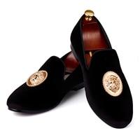 Harpelunde Men Flats Animal Buckle Dress Shoes Black Velvet Loafers Prince Albert Slippers Size 6-14