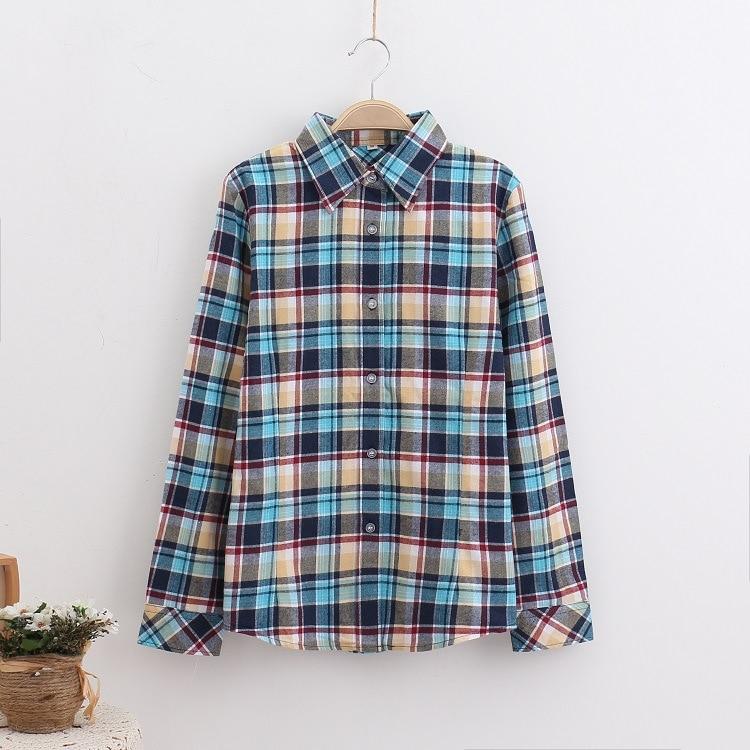 2016 Moda Plaid Shirt Kobiet College style damskie Bluzki Z Długim Rękawem Koszula Flanelowa Plus Rozmiar Bawełna Blusas Biuro topy 23