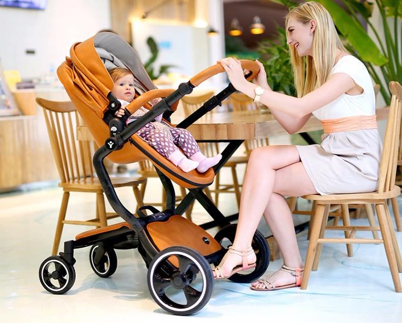 Foofoo wózka dziecięcego Wysokiej krajobrazu może zmienić na spania koszyk skóry 3